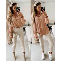 Γυναικείο μακρύ πουκάμισο 5549 καμηλό