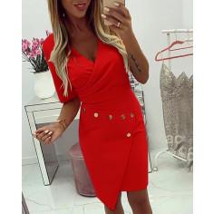 Γυναικείο φόρεμα με τρουξ 3988 κόκκινο