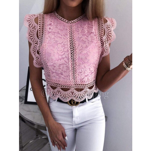 3f3151d231ce Γυναικεία μπλούζα με δαντέλα 2552 ροζ - Greece