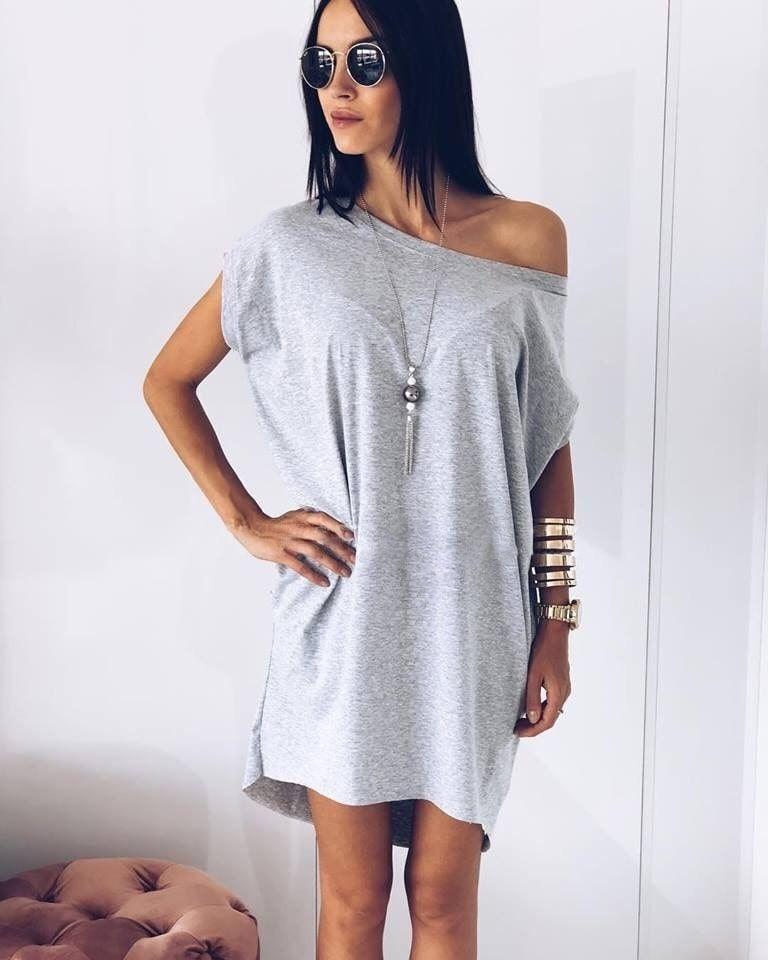80035d127e60 Γυναικείο μπλουζοφόρεμα με κολιέ 8415 γκρι Γυναικείο μπλουζοφόρεμα με κολιέ  8415 γκρι