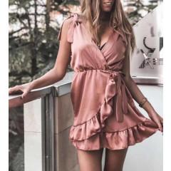 Γυναικείο φόρεμα σατέν 20769 ροζ