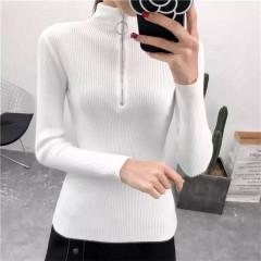 Γυναικεία μπλούζα ζιβάγκο με φερμουάρ 3386 άσπρη