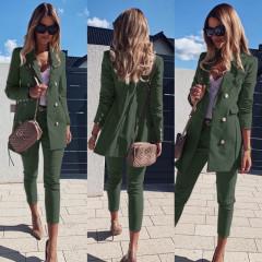 Γυναικείο σετ σακάκι και παντελόνι 3775 χακί