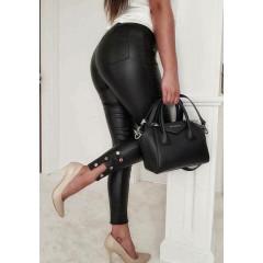 Γυναικείο παντελόνι δερματίνης 186033 μαύρο