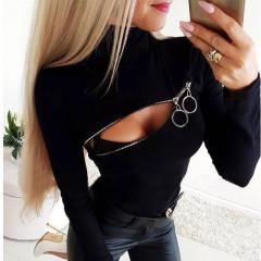 Γυναικεία μπλούζα με εντυπωσιακό φερμουάρ 3399