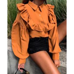 Γυναικείο πουκάμισο με βολάν και φουσκωτό μανίκι 3774 καμηλό