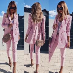 Γυναικείο σετ σακάκι και παντελόνι 3775 ροζ