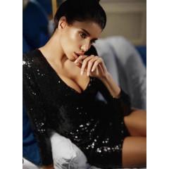 Γυναικείο φόρεμα με μακρύ μανίκι και παγιέτες Κ004 μαύρο