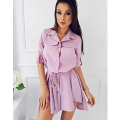 Γυναικείο φόρεμα με ζώνη 2405 ροζ