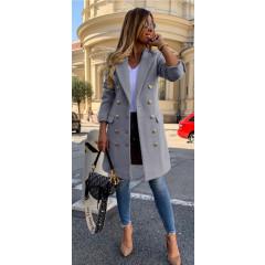 Γυναικείο παλτό με κουμπιά από τις δύο πλευρές και φόδρα 3828 γκρι