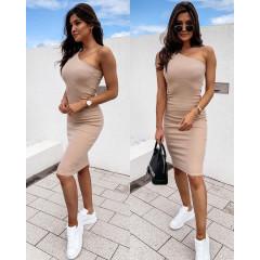 Γυναικείο έξωμο φόρεμα 5124 μπεζ