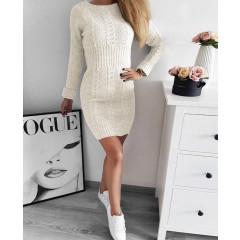 Γυναικείο πλεκτό φόρεμα 1018 εκρού