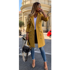 Γυναικείο παλτό με κουμπιά από τις δύο πλευρές και φόδρα 3828 μουσταρδί