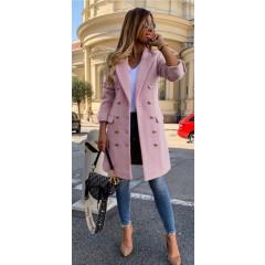 Γυναικείο παλτό με κουμπιά από τις δύο πλευρές και φόδρα 3828 ροζ