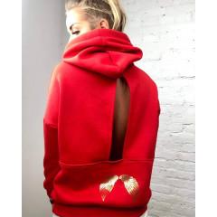 Γυναικείο φούτερ με άνοιγμα στην πλάτη 3385 κόκκινο