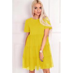 Γυναικείο φόρεμα με τούλι στο κάτω μέρος 5060 κίτρινο