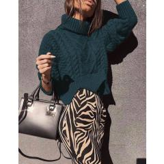 Γυναικείο πουλόβερ 1180 σκούρο πράσινο