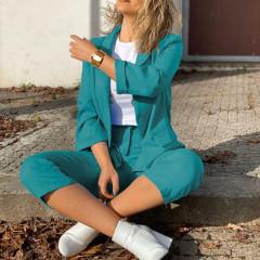 Γυναικείο σετ σακάκι και παντελόνι 5012 τυρκουάζ