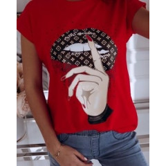 Γυναικείο κοντομάνικο μπλουζάκι 7451 κόκκινο