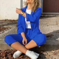 Γυναικείο σετ σακάκι και παντελόνι 5012 μπλε ρουά