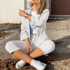 Γυναικείο σετ σακάκι και παντελόνι 5012 άσπρο