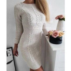 Γυναικείο πλεκτό φόρεμα 1018 μπεζ