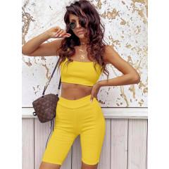Γυναικείο σετ με crop top 2324 κίτρινο