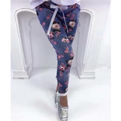 Γυναικείο παντελόνι με λουλούδια 7357 μπλε