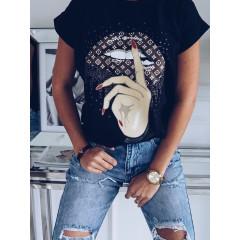 Γυναικείο κοντομάνικο μπλουζάκι 7451 μαύρο