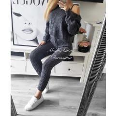 Дамски комплект блуза и клин 7168 графит