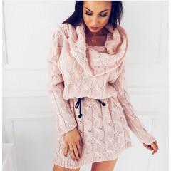Γυναικείο πλεκτό φόρεμα 8157 ροζ