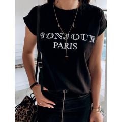 Γυναικείο κοντομάνικο μπλουζάκι 730511 μαύρο
