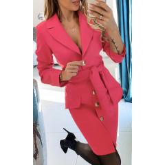 Γυναικείο φόρεμα με ζώνη και κουμπιά 3948 φούξια