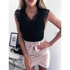 Γυναικεία μπλούζα με δαντέλα 3127 μαύρη