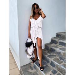 Γυναικείο εντυπωσιακό φόρεμα 51031 άσπρο