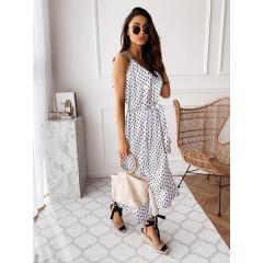 Γυναικείο μακρύ φόρεμα πουά 2186 άσπρο
