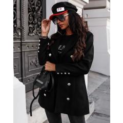 Γυναικείο παλτό με κουμπιά από τις δύο πλευρές 19718 μαύρο