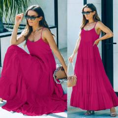Γυναικείο μακρύ χαλαρό φόρεμα 8105 φούξια