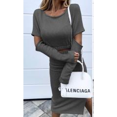 Γυναικείο σετ μπλούζα και φούστα 3814 σκούρο γκρι