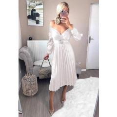 Γυναικείο σατέν φόρεμα σολέϊ 9509 άσπρο