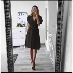 Γυναικείο φόρεμα με ζώνη 1978 μαύρο