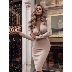 Γυναικείο φόρεμα κρουαζέ 3746 μπεζ