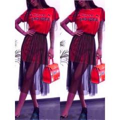 Γυναικείο μπλουζοφόρεμα με τούλι 5483 κόκκινο