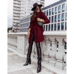 Γυναικείο παλτό με φόδρα και ζώνη 5334 μπορντό