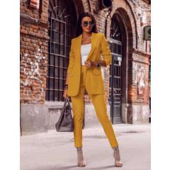 Γυναικείο σετ σακάκι και παντελόνι 3768 κίτρινο