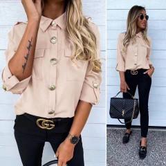 Γυναικείο πουκάμισο με εντυπωσιακά κουμπιά 3741 μπεζ