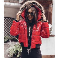 Γυναικείο μπουφάν με γουνάκι στην κουκούλα 81996 κόκκινο