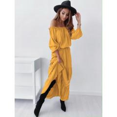 Γυναικείο μακρύ φόρεμα έξωμο 26162 κίτρινο