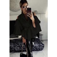Γυναικείο πουκάμισο με φαρδύ μανίκι 9557 μαύρο