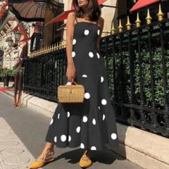 Γυναικείο μακρύ φόρεμα πουά 5061 μαύρο